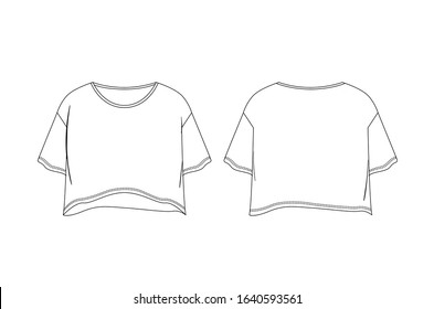 Drop shoulder regular fit, crop woment top template. for apparel