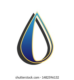 Drop sign. Blue icon with gold contour with dark gray shadow at white background. Illustration.