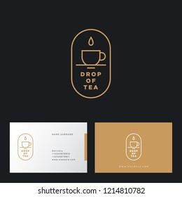 A drop of tea logo. Cup and drop in oval badge. Flat linear logo. Identity. Business card.