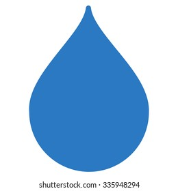 Drop vector icon. Style is flat symbol, smooth blue color, rounded angles, white background.