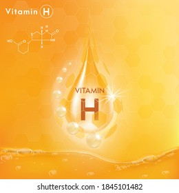 Drop Vitamin H capsule. For skin beauty, Cosmetic, Promo ads Design. realistic 3d gold bubbles Vector EPS10.