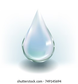 Drop of water. Blue droplet. Realistic vector for beauty concept.