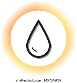 Drop of water sign. Dark icon with shadow on the glowing circle button. Illustration.