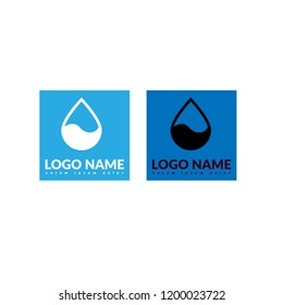 Drop of watter with wave. logo concept
