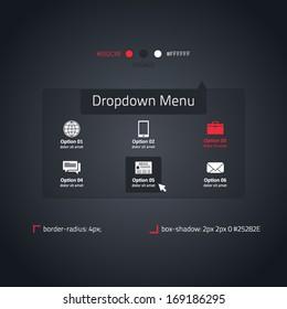 Dropdown menu - transparent website element