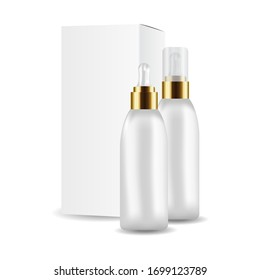 Dropper bottle with gold cap for the promotion of cosmetic anti-aging premium product mockup isolated on white background. Vector illustration