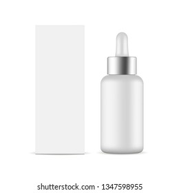 Dropper bottle with metal cap and packaging box mockup isolated on white background. Vector illustration