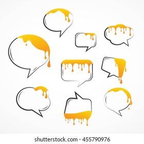 dropping honey from speech bubbles. vector illustration set