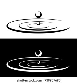 Drops falls forming a circles on the water. Droplets symbols isolated on the white and black backgrounds. Graphic icons. Vector illustration