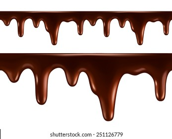 Drops of melted chocolate. Seamless vector
