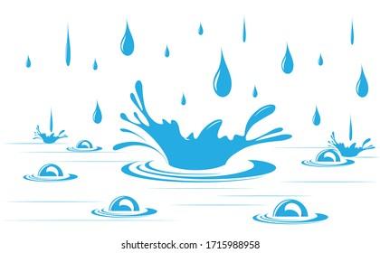 Drops of rain water. Vector image.