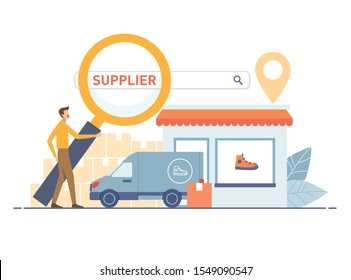 Dropshipper holding magnifying glass for find supplier search bar.  Supplier store and cargo car with location map pin. Vector illustration flat design style. Search vendor concept.