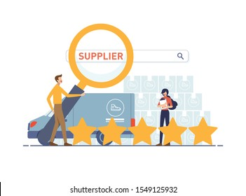 Dropshipper holding magnifying glass for find supplier search bar. Trust supplier and delivery car with five vote star, parcel background and location map pin. Vector illustration flat design style.