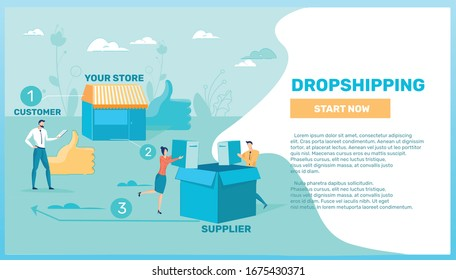 Dropshipping Advanced Technology and Goods Delivery from Supplier to Customer - Set. Manufacturer and Buyer Direct Connection with Business People Cartoon Characters. Flat Vector Illustration.