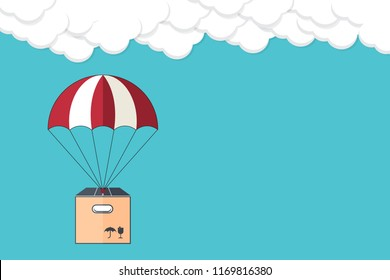 Dropshipping. Drop shipping concept. Package flying on parachute, delivery service concept. Flat design