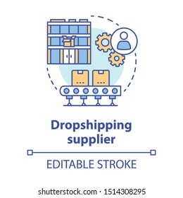 Dropshipping supplier concept icon. Shipping product to customer idea thin line illustration. Online business. Delivery service. Goods distribution. Vector isolated outline drawing. Editable stroke