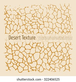 Drought desert texture. Brown and yellow vector, hand drawn art, pen and ink. Cracked earth after earthquake
