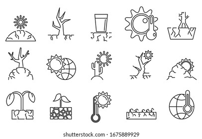 Drought environment icons set. Outline set of drought environment vector icons for web design isolated on white background
