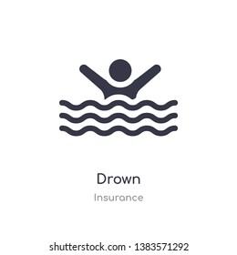 drown icon. isolated drown icon vector illustration from insurance collection. editable sing symbol can be use for web site and mobile app