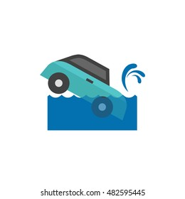 Drowned car icon in flat color style. Automotive natural accident flood insurance claim
