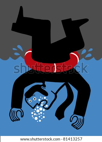 Drowned Upside Down Businessman Lifesaver Stock Vector Royalty Free