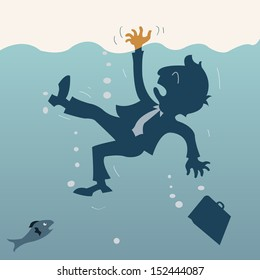Drowning businessman. Abstract background vector illustration.