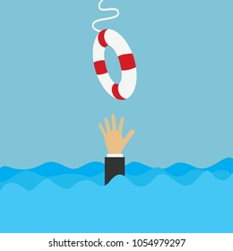 drowning businessman gets a lifebuoy. save business concept. vector illustration in flat style.