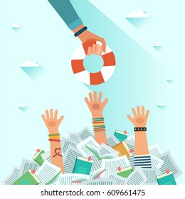 Drowning students getting lifebuoy. Pile of books and Overwhelmed student. Too much study. Student's hand drowning in books. Education concept. Vector flat colorful illustration