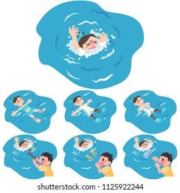 drowning woman and rescue set