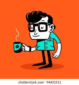 Drowsy nerd. Vector illustration.