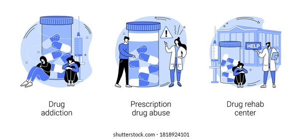 Drug addiction abstract concept vector illustration set. Drug monitoring, prescription medication abuse, rehab center, overdose, therapy clinic, ankle bracelet, detox abstract metaphor.