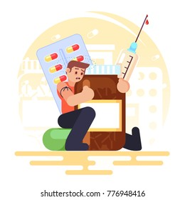 drug addiction Medical Pills Tablets, Bottle, syringe addict man Vector colorful illustration in flat style image eps10