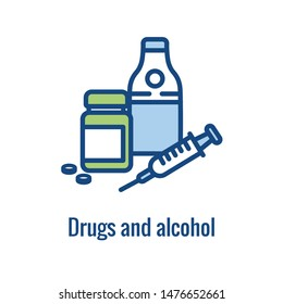 Drug & Alcohol Dependency Icon showing drug addiction imagery