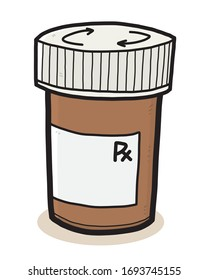 Drug bottle / cartoon vector and illustration, hand drawn style, isolated on white background.
