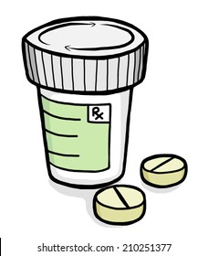 drug bottle and tablets / cartoon vector and illustration, hand drawn style, isolated on white background.
