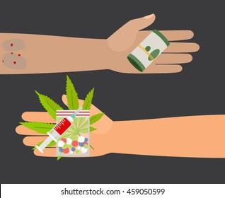 Drug buy. Give money and take drugs vector illustration
