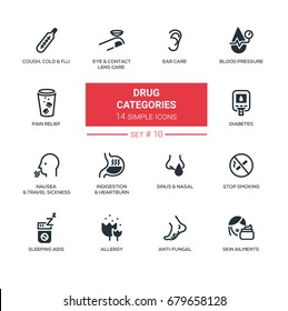 Drug categories - set of vector icons, pictograms. Cough, flu, eyes, ear care, pain relief, indigestion, diabetes, travel sickness, sleeping aids, stop smoking, allergy, anti-fungal, skin ailments