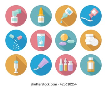 Drug forms varicolored icons vector