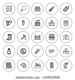 Drug icon set. collection of 25 outline drug icons with blinder, eye drops, first aid, enema, drugs, injection, medical app, medicine, laboratory icons. editable icons.