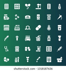 drug icon set. Collection of 36 filled drug icons included Medicine, Prescription, Pipette, Test tube, Pills, Vaccine, Drugs, Phonendoscope, Beaker, Remedy, Pill, Tube, Needle