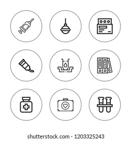 Drug icon set. collection of 9 outline drug icons with blinder, first aid, enema, drugs, medicine, syringe, test tube, test tubes icons. editable icons.