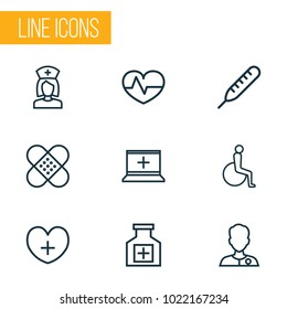 Drug icons line style set with equipment, doctor, heart and other temperature   elements. Isolated vector illustration drug icons.