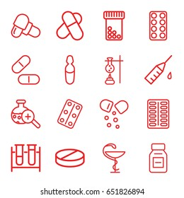 Drug icons set. set of 16 drug outline icons such as test tube, pill, medical pills, medical ampoule, medicine, test tube search, injection rash