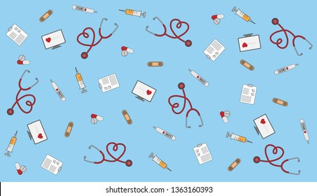 Drug icons set with doctor, stethoscope with medical healthcare vector illustration