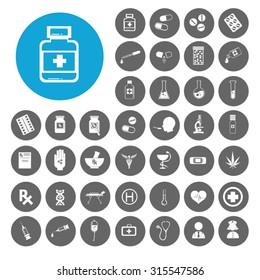 Drug icons set. Illustration EPS10