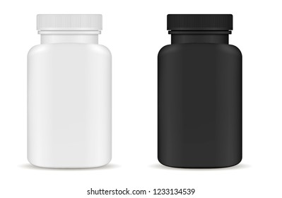 Drug medical bottles set. Black and white 3d Vector illustration. Mockup Template of medicine packaging for pills, capsule, drugs. Sports and health life supplements.