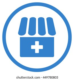 Drug Shop vector icon. Style is flat circled symbol, cobalt color, rounded angles, white background.