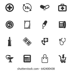 Drug store vector icons for user interface design