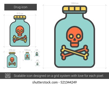 Drug vector line icon isolated on white background. Drug line icon for infographic, website or app. Scalable icon designed on a grid system.