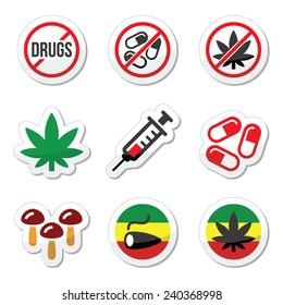 Drugs, addiction, marijuana, syringe colorful labels set